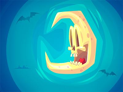 Happy Halloween morquastore morqua bat halloween game moon cute vector toon character 2d illustration krol skull