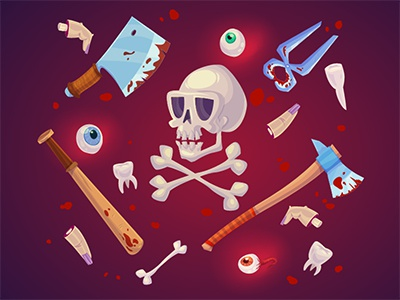 Cute horror set  ^_^ toon character game eye blood cute knife skull illustrations 2d horror halloween