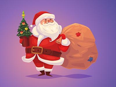 Santa illustration vector cartoon year new happy christmas merry claus santa cute character