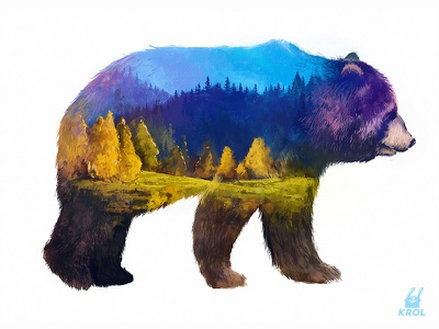 Double Exposure Grizzly morquastore morqua character illustration 2d doubleexposure tiger autumn summer forest grizzly print cute nature exposure double bear animal