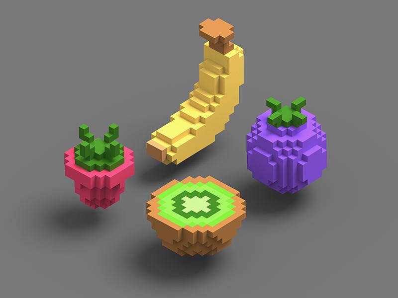 Isometric voxel fruits