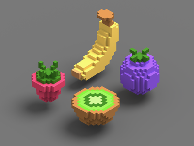Isometric voxel fruits iso isometric magic voxel catroon hipster vegetables vegan fruit bank rocket voxel 3d