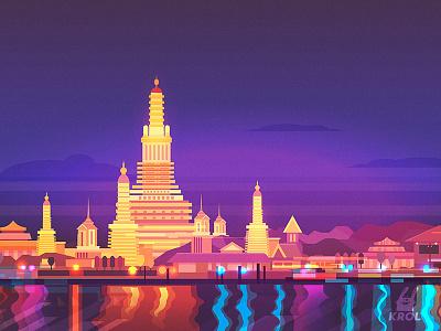 Thailand (vector) vector krolone building home sale nature illustration 2d landscape city thailand