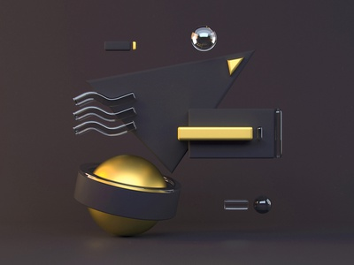 Composition wallpaper banner digital concept render gold c4d 4d composition 3d