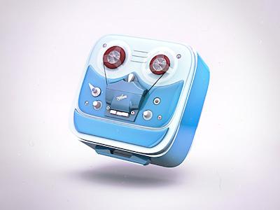 Retro tape icon retro audio tape 4d cinema krol krolone 3d icon