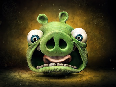 Angry pig icon angry bird pig ios icon zbrush 3d krol krolone illustration iphone