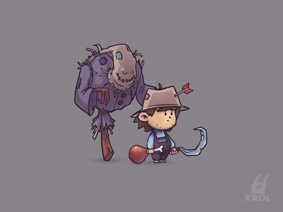 Farmer ( game concept ) illustration design weapon farmer 2d character scarecrow 2d characterdesign character design concept art concept game character