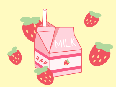 Strawberry Milk design illustrator pink minimal strawberry vector graphic design flat digital art illustration