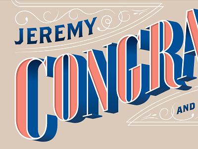 Congrats to J&R lettering congrats congratulations pink blue serif