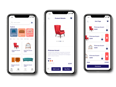 furniture app ui ux designer illustrator