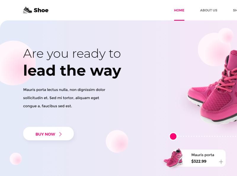 Shoe Landing Page landing page shoe design web ui