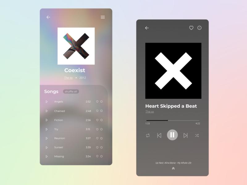 Music Player - Daily UI 09 hologram transparent translucent minimal song player music app music player music modern design daily ui dailyui