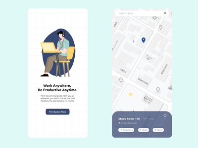 Co-working Space Finder - Daily UI 20 Location Tracker location app nearby coworking coworking space finder location tracker locationtracker location daily ui dailyui