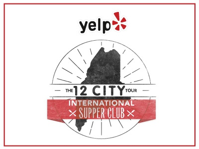 Yelp's International Supper Club illustrator international circle typography type yelp texture logo event banner maine mark