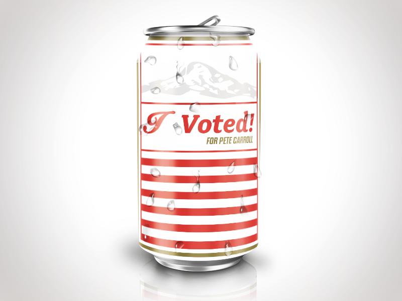 Vote PNW typography type design rainier seattle pnw beer can united states election vote