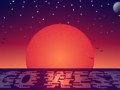 Sunset Moon light sunrise stars gradient ocean sky west type vector moon sunset