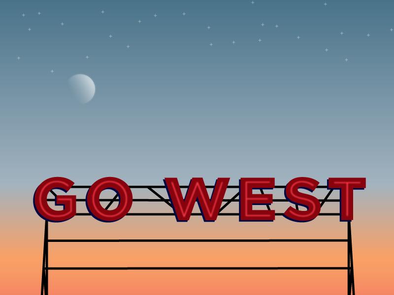 Go West 2.0 billboard graphic design design sky sign illustration vector stars moon sunset west type