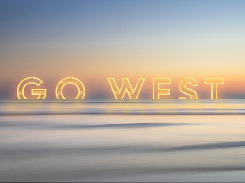 Go West 3.0 photography horizon water ocean graphic design design sky illustration vector sunset west type
