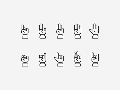 Hand Icons hand sign fist index finger rock on peace pointing icon set icons hand