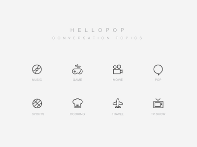 Conversation Topic Icons tv show icon line icons icon set travel cooking sports movie game music