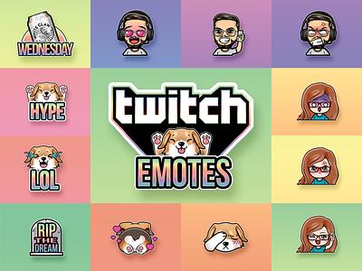 Twitch Emotes stickers icons hearts seltzer boy girl branding dog corgi cute gaming twitch anime chibi emojis vector art custom logo emote