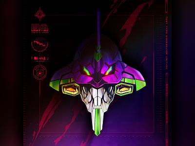 EVA UNIT-01 ui illustration design branding mech robot head anime logo vector