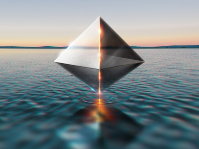 Ramiel water floating surreal octahedron pyramid alien angel eva evangelion ramiel
