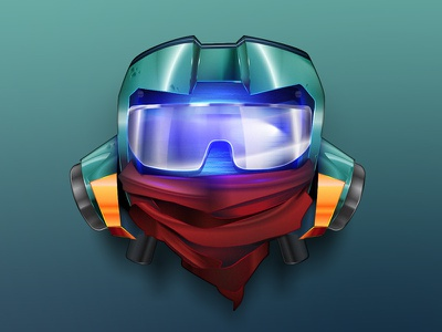 Canti 90s guitar cool vector scarf sunglasses head robot foolycooly anime flcl canti