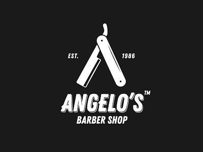 Angelo's Barber Shop logotype branding razor cuttery hair stylist shop barber logo