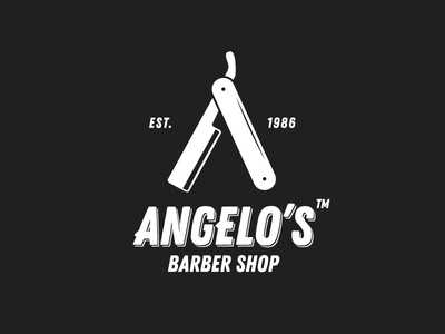Angelo's Barber Shop logotype branding razor cuttery hair stylist shop barber logo
