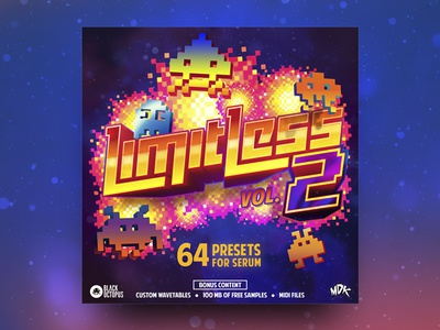 Limitless Vol. 2 explosion 16bit 8bit game invaders pixel cover mdk serum 2 volume limitless
