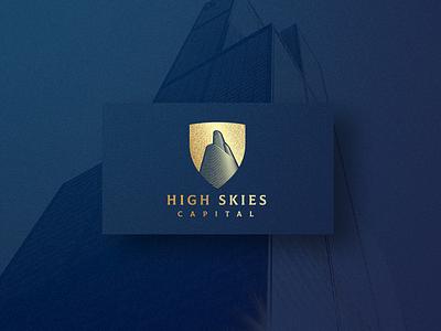 High Skies Capital capital letter skies high branding skyscraper shield future investment money wealth stock broker firm capital logo