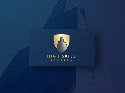 High Skies Capital capital letter skies high branding skyscraper shield future investment money wealth stock broker firm capital logo