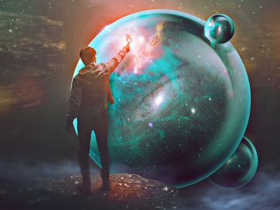 Azimuth discover dream reality void galaxy bubbles fire photomanipulation cave surreal conceptual sphere discovery space