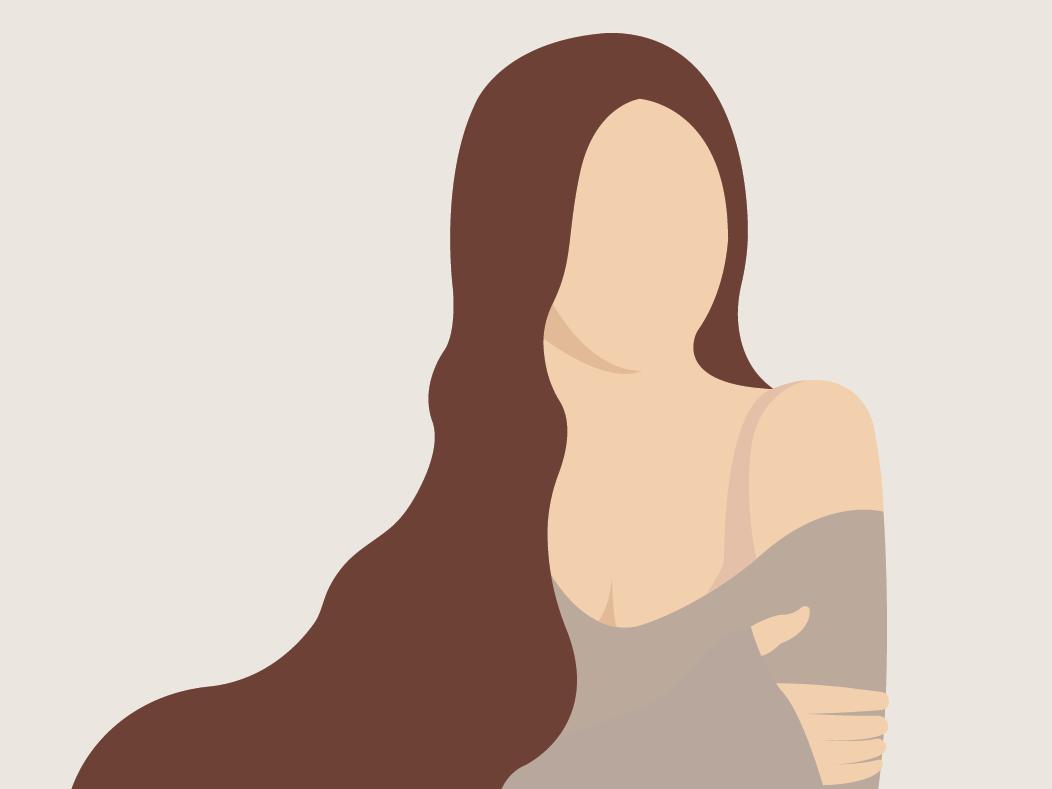 Brunette woman flat graphic  design vector illustration design