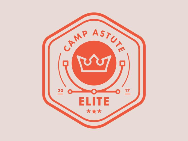 Camp Astute 'Elite' Badge astute graphics pin badge design logo vector illustration