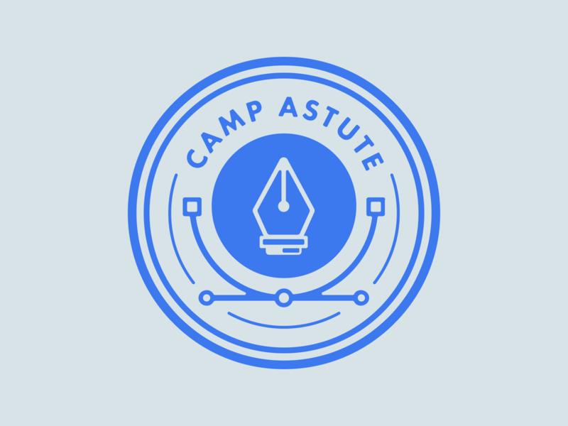 Camp Astute 'Draw' Badge anchor pen tool pen pin astute graphics logo brand vector illustration design badge design badge