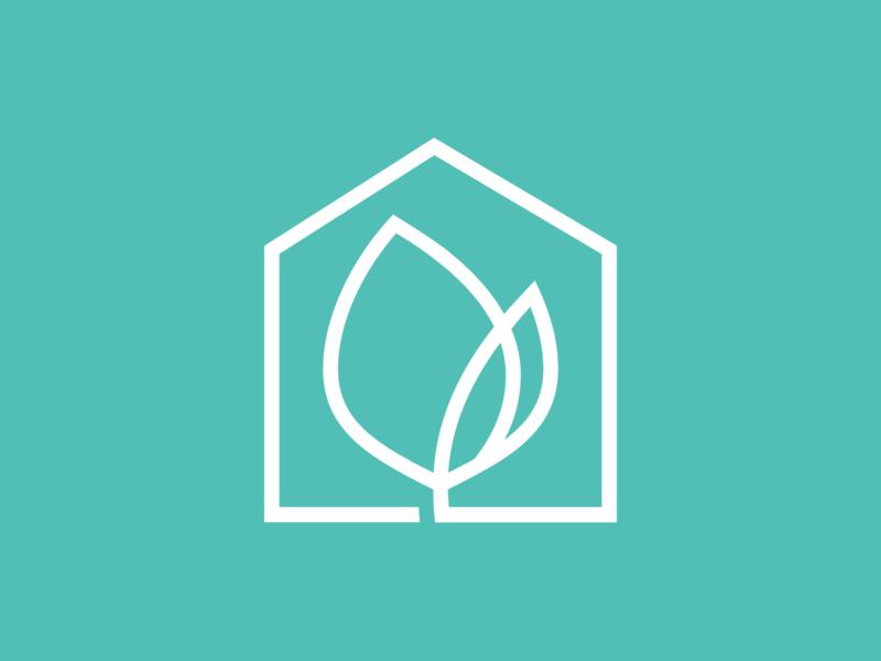 Interior Design Brand Concept logo mark leaf growth home logo design identity branding brand