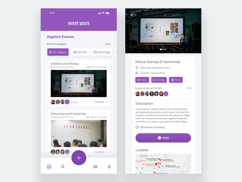 Event yours UI firstshot adobexd xd html app concept mobile interface form css app logo ux design concept ui