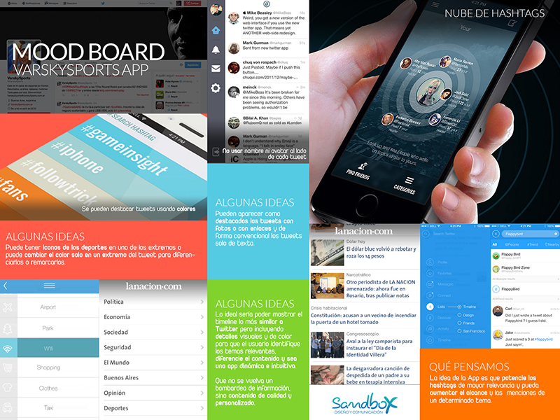 moodboard for varskysports app by startup supplier