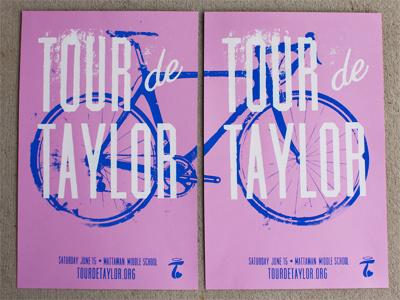Tour De Taylor home studio silkscreen hand pulled pink blue white tour de taylor bike race community french paper cotton candy