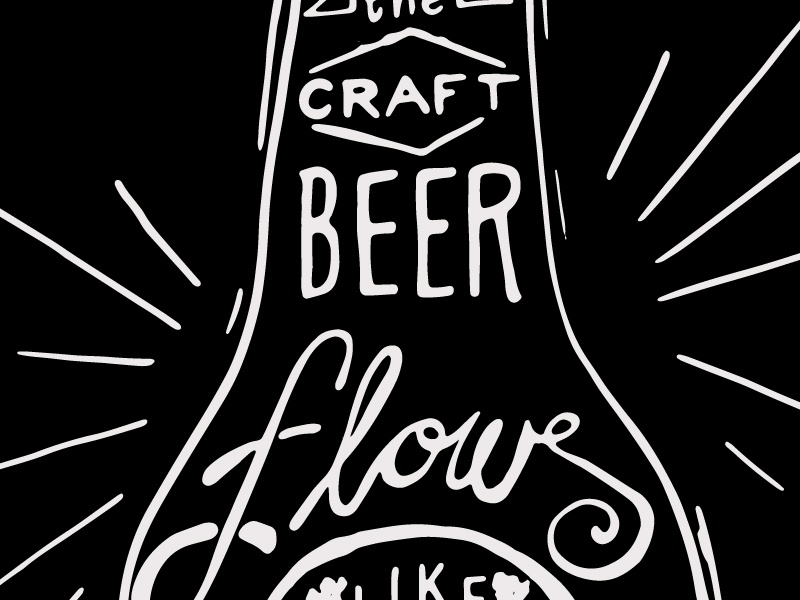 Craft Beer hand lettering chalk inspired craft beer lines black white
