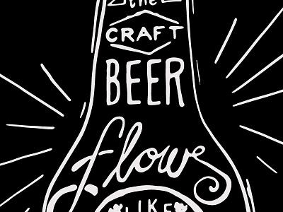 Craft Beer hand lettering chalk inspired craft beer lines black white
