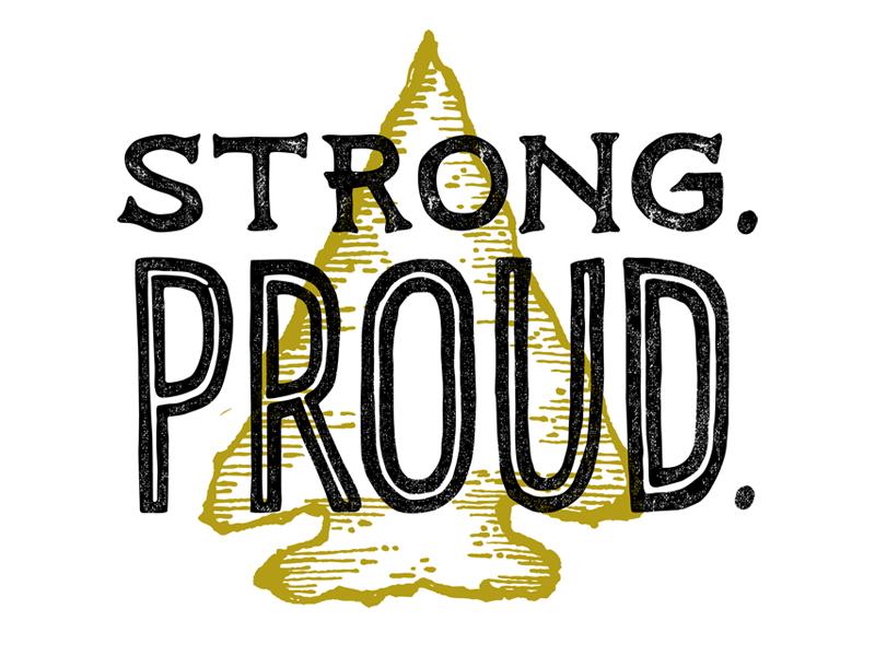 Strong. Proud. Flint. illustration hand drawn text inline black gold texture usa michigan flint arrowhead hand lettering