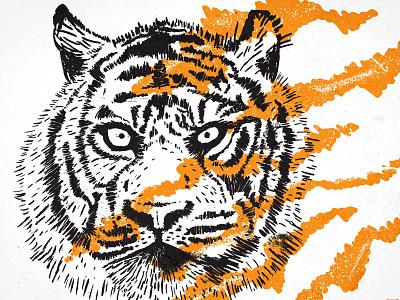 Go Get Em Tiger texture orange black ink stripes brush pen illustration tiger