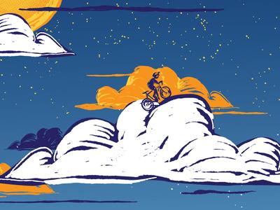 Art Crank  woodblock gradient white cycling bike clouds stars art crank