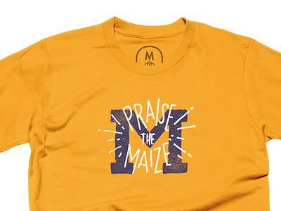 Praise The Maize - On Cotton Bureau texture tee t-shirt michigan m blue gold maize praise cotton bureau
