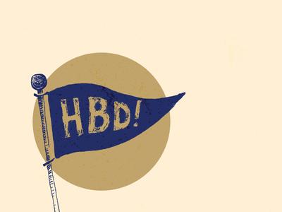 HBD dood flag hand lettered hand drawn texture navy gold birthday happy birthday