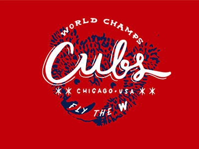 CUBBIES hand drawn hand lettered world champs win bear cub w chicago world series baseball cubs