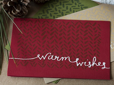 Warm Wishes holiday christmas hand drawn hand lettered greeting card screenprint warm wishes wishes warm